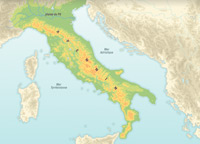 The Italian peninsula's geographical features